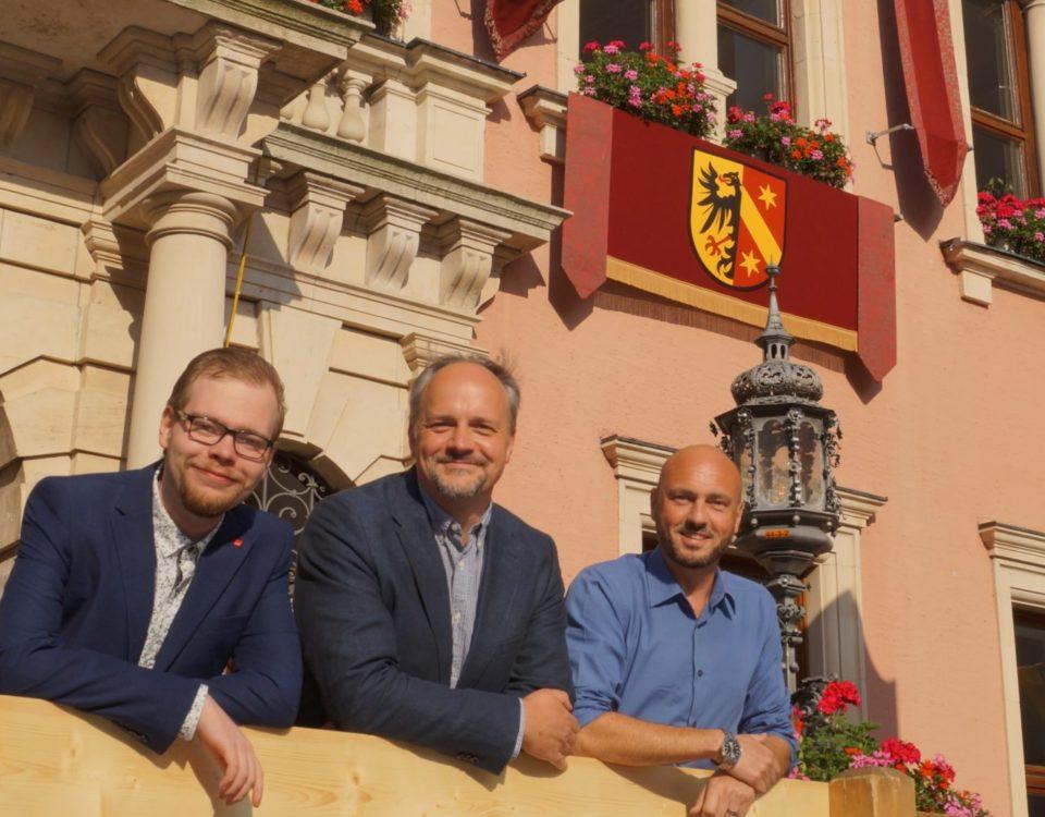 v.l.n.r.: Bezirkstagskandidat (Liste) Daniel Schneider, Landtagskandidat Markus Kubatschka, Bezirkstagskandidat Michael Helfert